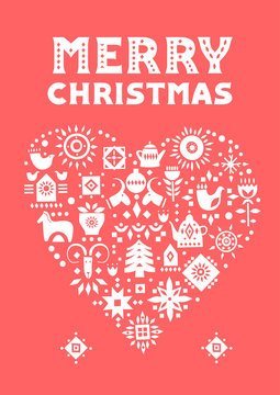 Vector concept of Christmas card. White heart made of festive symbols on a red background.
