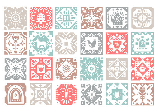 Set of original monochrome square tiles with folk rustic patterns. For Christmas patterns, kitchen design.