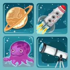 Cute poster on the theme of space exploration. Planet Saturn, flying rocket, astronomical telescope, alien purple octopus. Vector cartoon close-up illustration.