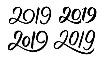 Decoration elements for New Year 2019. Set 3 with handwritten numbers for Chinese for Year of the Pig. Vector illustration.
