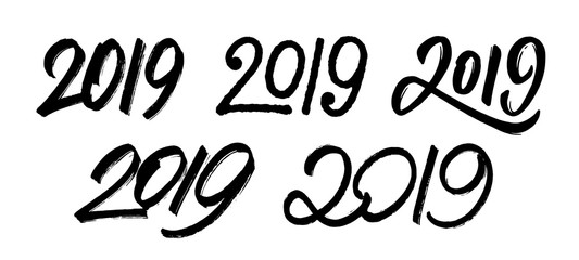 Decoration elements for New Year 2019. Set 5 with handwritten numbers for Chinese for Year of the Pig. Vector illustration.