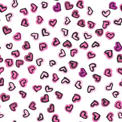 Seamless pattern with hand drawn hearts. Happy Valentine s Day.