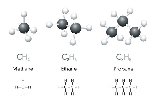 Methane, ethane, propane. Molecule ball-and-stick models and chemical formulas. Organic chemical compounds. Natural gas. Geometric structures and structural formulas. Illustration over white. Vector.
