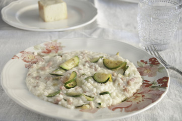 risotto with zucchini, pancetta and taleggio cheese