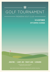 Retro style golf club poster. Blue sky and green golf field. Golfclub competition poster. Championship or tournament text placeholder. Template for golf competition or championship event.
