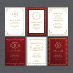Luxury wedding invitation or greeting card set with floral ornament. Vector illustration.