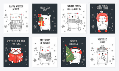 Vector line drawing postcard collection of cute winter bears and cozy slogan in flat design