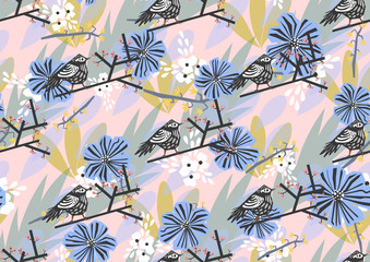 seamless pattern with bird on branch and flowers