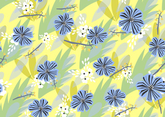 seamless color pattern with different flowers