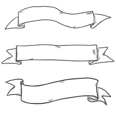 Vector Set of Sketch Ribbons. Blank Banners.