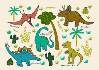 children's card with dinosaurs: triceratops, pterodactyl, apatosaurus, stegosaurus, tyrannosaurus rex