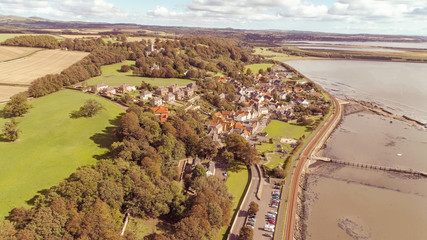 Aerial view above the historic village of Culross near Kincardine. A location for the television series Outlander.