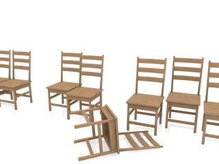 Wooden chairs in a loose line
