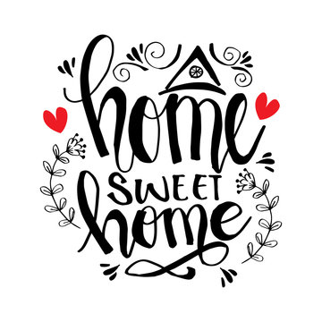 Handwriting lettering with Inspirational phrase Home sweet home.