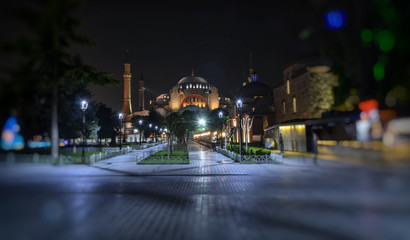 View of the Hagia Sophia mosque at evening in Istanbul, Turkey
