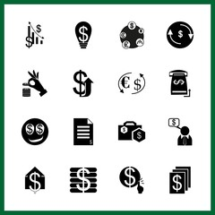 currency icons set. network, person, coffee and fund graphic works