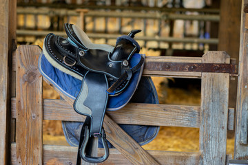 Cute children's horse saddle ready to be used