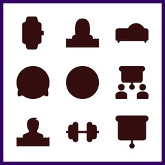training icon. muscle and smartwatch vector icons in training set. Use this illustration for training works.