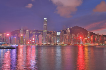 Victoria harbor, Hong Kong skyline at night 2018
