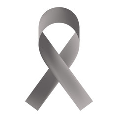 Gray ribbon isolated on white background. Borderline personality disorder, diabetes, asthma and brain cancer awareness symbol. Vector illustration