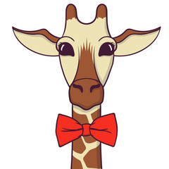 Cute Giraffe with bow-tie. Print for fabric, t-shirt, poster. Vector illustration