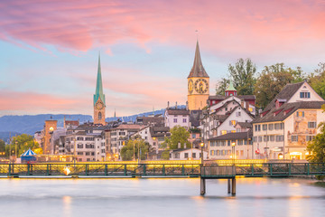 Wall Mural - Beautiful view of historic city center of Zurich at sunset