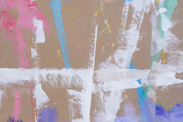 multicolored blots on recycled paper background