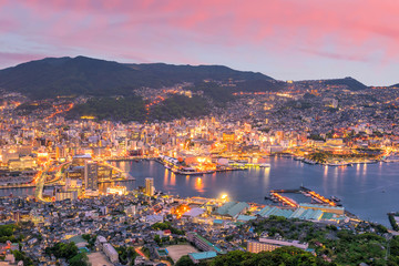 Fotomurales - Beautiful Panorama Aerial View of Nagasaki Skyline at night