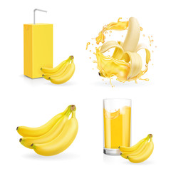Banana juice collection. Fresh banana drink package box Juice or jam logotype