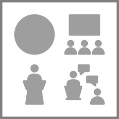 4 discussion icon. Vector illustration discussion set. stats and lecture icons for discussion works