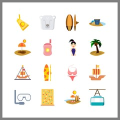 sea icon. palm and beach vector icons in sea set. Use this illustration for sea works.
