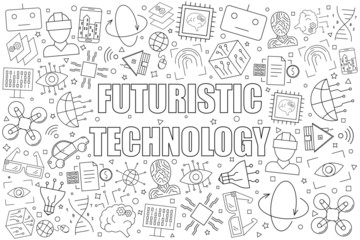 Futuristic technology background from line icon. Linear vector pattern. Vector illustration