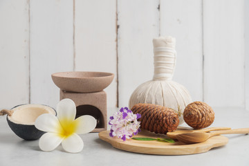 Aromatherapy  product  Spa set massage with concrete  background. top view,flat lay composition.