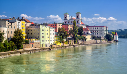 Colorful traditional houses on Inn river in historical old town Passau, Germany