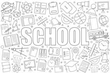 School background from line icon. Linear vector pattern. Vector illustration