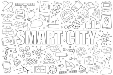 Smart city background from line icon. Linear vector pattern. Vector illustration