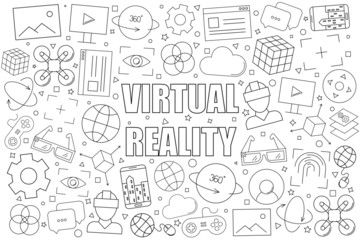 Virtual reality background from line icon. Linear vector pattern. Vector illustration