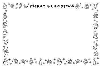 クリスマスのフレーム 手描き 白黒