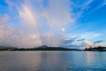 Rainbow over the Three Rivers experiencing close proximity to the waterfront community.