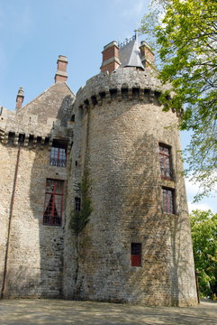 Ville de Combourg, tourelle du château de Combourg (XIIe-XVe), département d'Ille-et-Vilaine, Bretagne, France