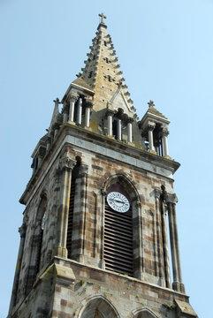 Ville de Combourg, clocher de l'église Notre-Dame de Combourg, département d'Ille-et-Vilaine, Bretagne, France