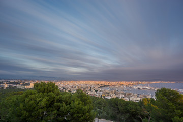 Impressive Palma, Majorca, Spain. Shot from bellver castle, ultra long exposure