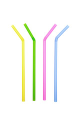 straw plastic colourful on white background