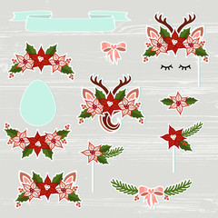 Vector set with Deer, Headband, Antler, flower wreath. Deer symbols as patch, stick cake topper, sticker, drink topper. Props for Christmas, Deer party, birthday, first birthday, baby shower.