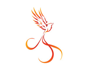 Flaming Phoenix Bird Logo In Isolated White Background