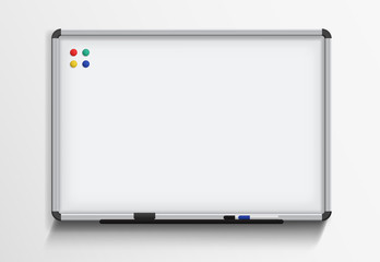Whiteboard with marker and magnets. Vector realistic template on white background.