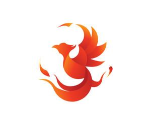 Flaming Phoenix Logo in Isolated White Background