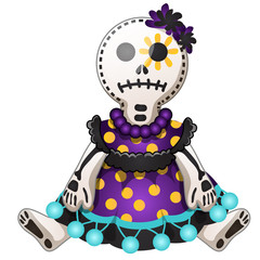 Funny doll with contours in the form of strokes and dotted lines isolated on white background. Idea for a sticker or sew-on patches in style of Halloween or Dia de Los Muertos. Vector cartoon close-up
