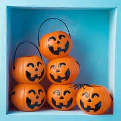 Halloween holiday composition with jack o lantern pumpkin