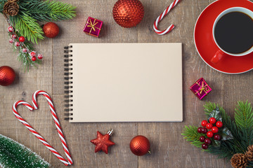 Christmas holiday background with notebook